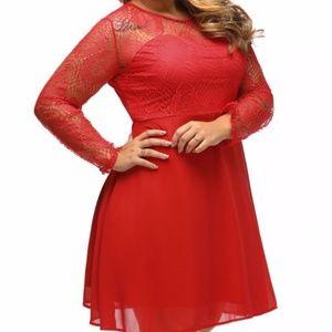 Boohoo Lace Chiffon Skater Dress Size 14